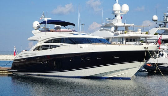 Luxury Princess V85 Planing Yacht Charter For 8 Guest In Athina, Greece