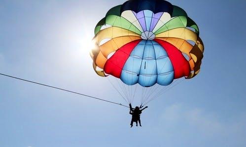 Enjoy an exciting parasailing adventure in Trou d'Eau Douce, Mauritius