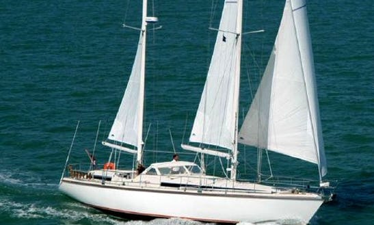 Cruising 53 Ft Luxury Sailing Yacht In Chesapeake Bay.