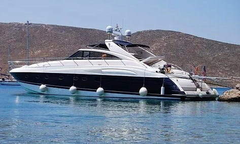 Charter 65' Princess V65 power yacht summer in Mykonos, Greece