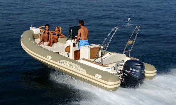 Rent 21' Capilli Tempest Rigid Inflatable Boat in Saint-Gilles les Bains, Reunion