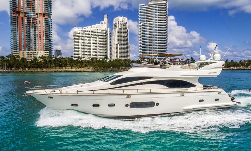 84 Joyce Flybridge Luxury Yacht and Jet Ski rental in Miami