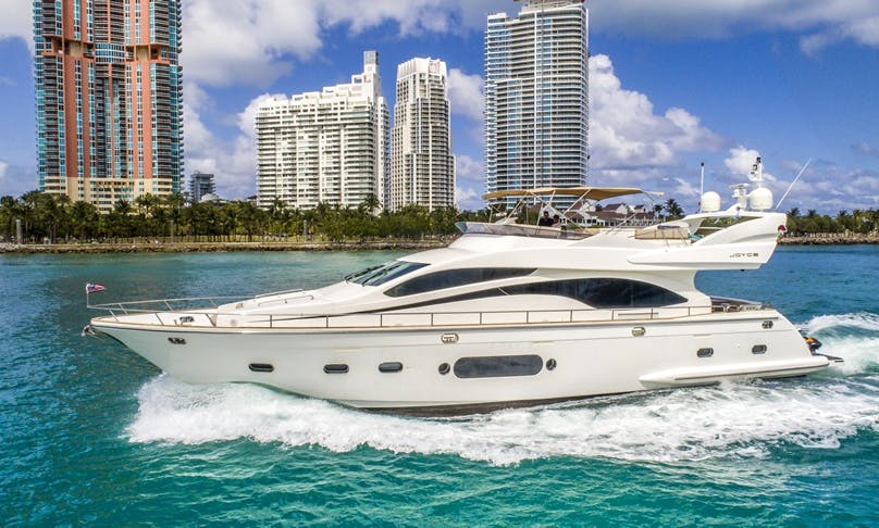 84 Joyce Flybridge Luxury Yacht and Jet Ski rental in Miami