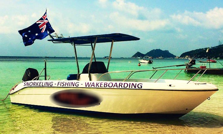 Honey Badger 2, our fast offshore 21ft Centre Console fishing weapon, located in Sairee Beach Koh Tao