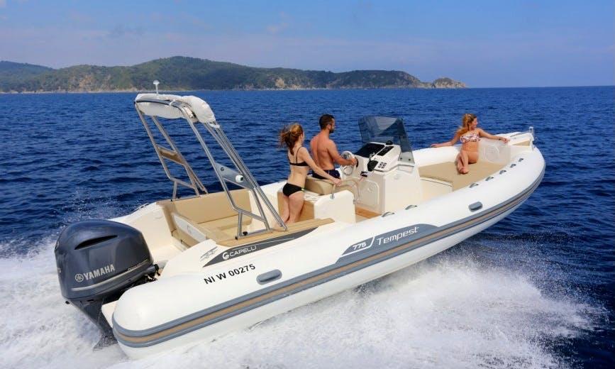 Rent 25' Capelli Tempest Rigid Inflatable Boat in Saint-Tropez, France