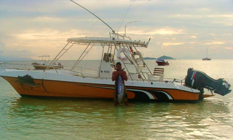Fishing in Baie Sainte Anne, Seychelles on 31' Center Console