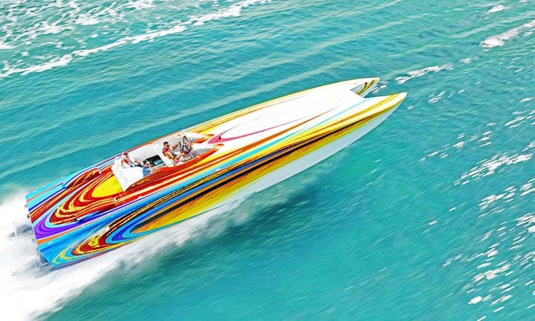 46' Skater Speed Boat for rent in Miami Beach. Cruising Speed 110MPH