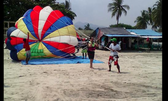 Enjoy Parasailing In Cinangka, Banten