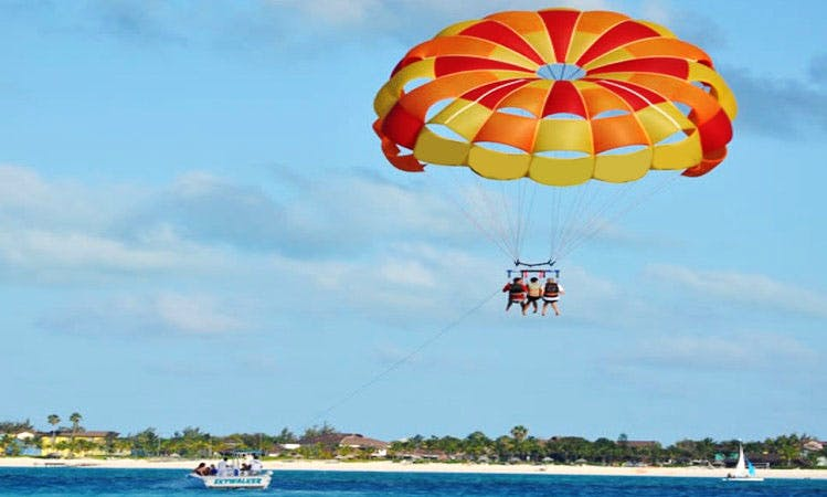 Enjoy Parasailing on the worlds best beach, Grace Bay beach with Capt. Marvin's