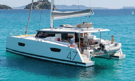 Charter 47' Fountaine Pajot Cruising Catamaran In Lavrion, Greece