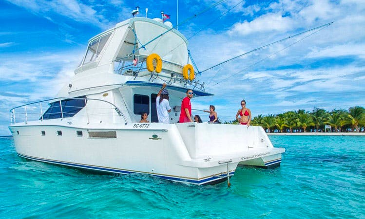 "Luxurious 46 ft Power Catamaran Charter on the ""Wild Orchid"" in Belize"