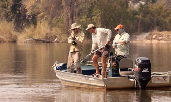 Enjoy Fishing In North-west District, Botswana On A Dinghy