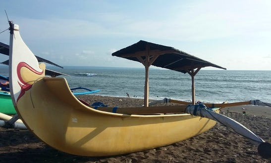 Beautiful Yellow Traditional Boat In Mengwi, Bali For 2 Persons