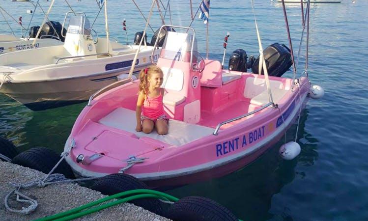 No license Dromeas Bright Pink Boat Rental In Nikiana, Greece