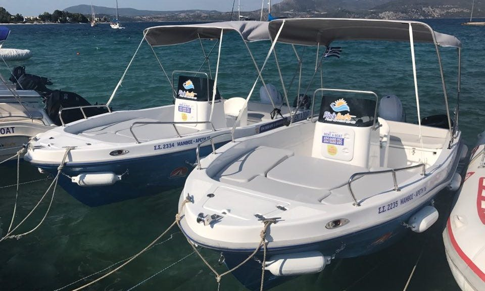 No license required 60hp 7 persons Center Console rental in Nikiana, Greece