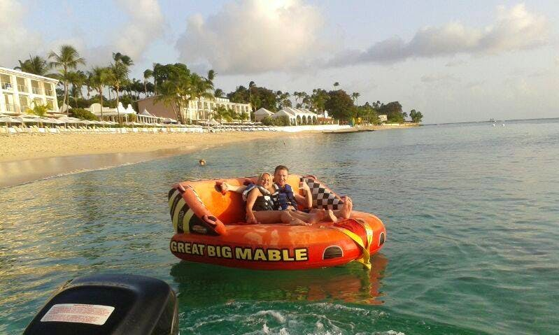 Sofa Rides while Tanning in Fitts Village, Barbados