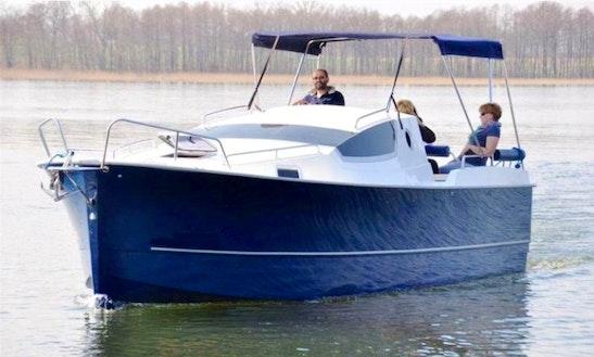 Nexus 850 Blue Motor Boat Charter In Węgorzewo