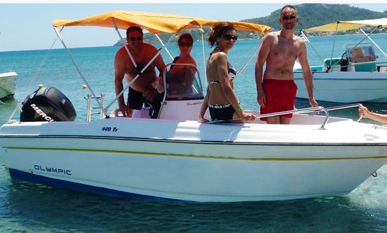 16' Olympic 490 Sx Deck Boat Rental In Rodos, Greece