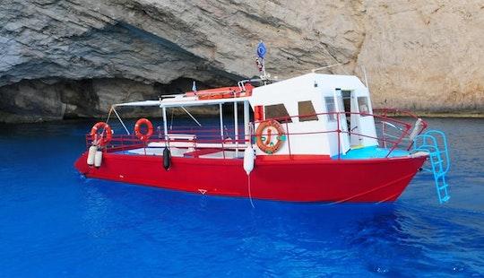 Charter White Passenger Boat In Zakinthos, Greece