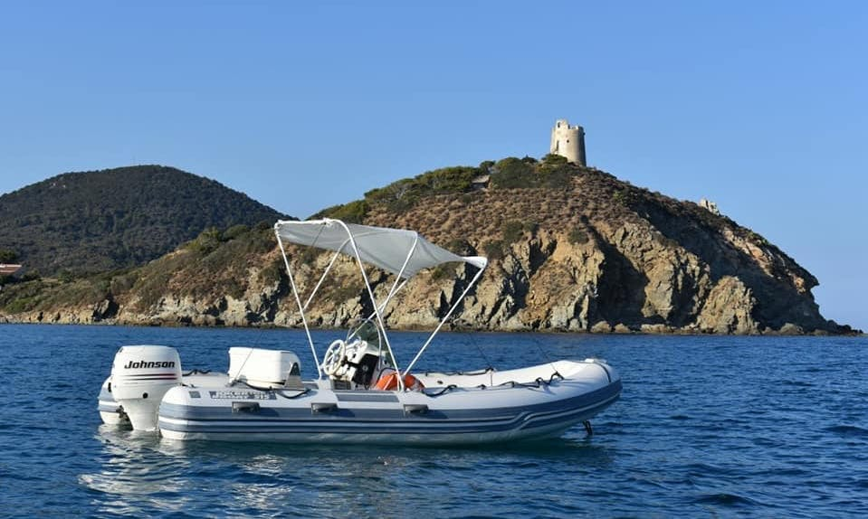 4 Person Covered RIB Rigid Inflatable Boat for Rent in Sardegna, Italy