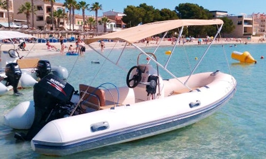 Rent 13' Zodiac Rigid Inflatable Boat In Colònia De Sant Jordi, Spain