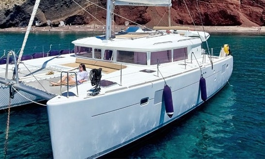 Charter 45' Lagoon Cruising Catamaran In Santorini, Greece