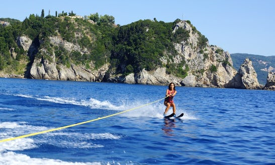 Zoom Over The Wake While Water Skiing In Zakinthos