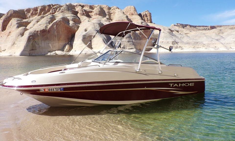 Enjoy Lake Powell in this 22.5 Tahoe Deck Boat