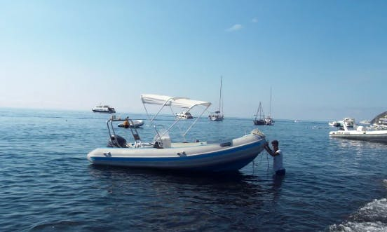 Charter 18' Mistral Rigid Inflatable Boat in Stromboli (Eolie islands), Italy