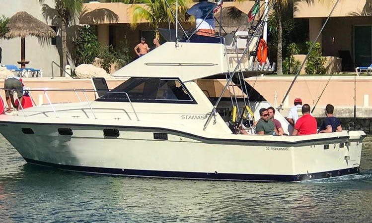 Enjoy Fishing on 32' Sport Fisherman in Playa Del Carmen Quintana Roo, Mexico