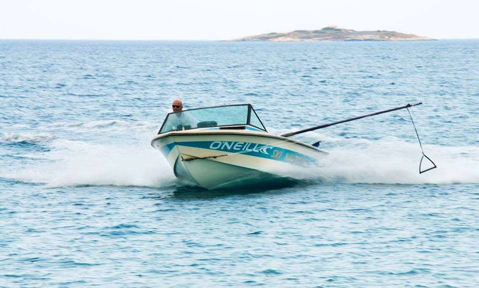 Rent a deck boat for 4 people in Nisi, Greece