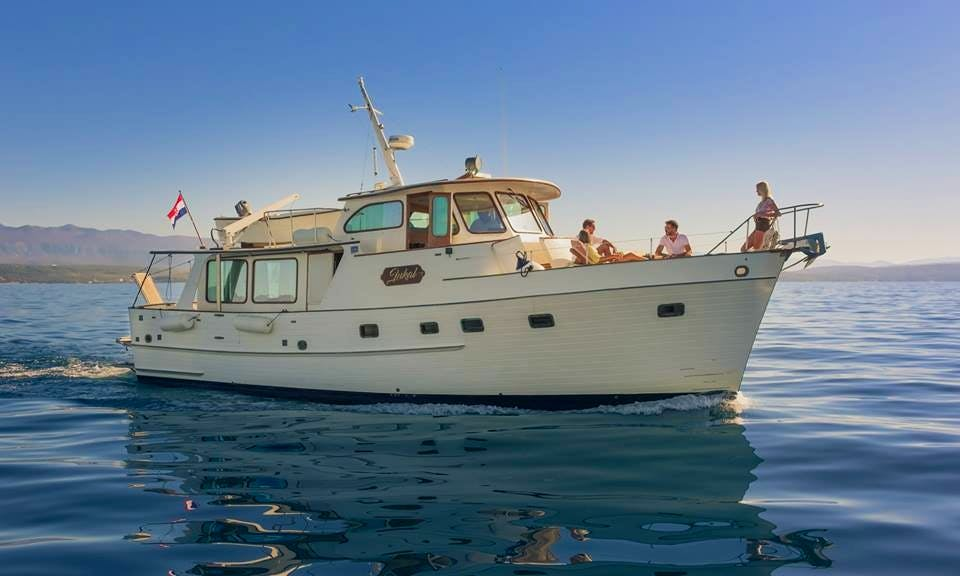 Charter 46ft Grand Banks Alaskan Yacht at island of Krk near Rijeka, Croatia