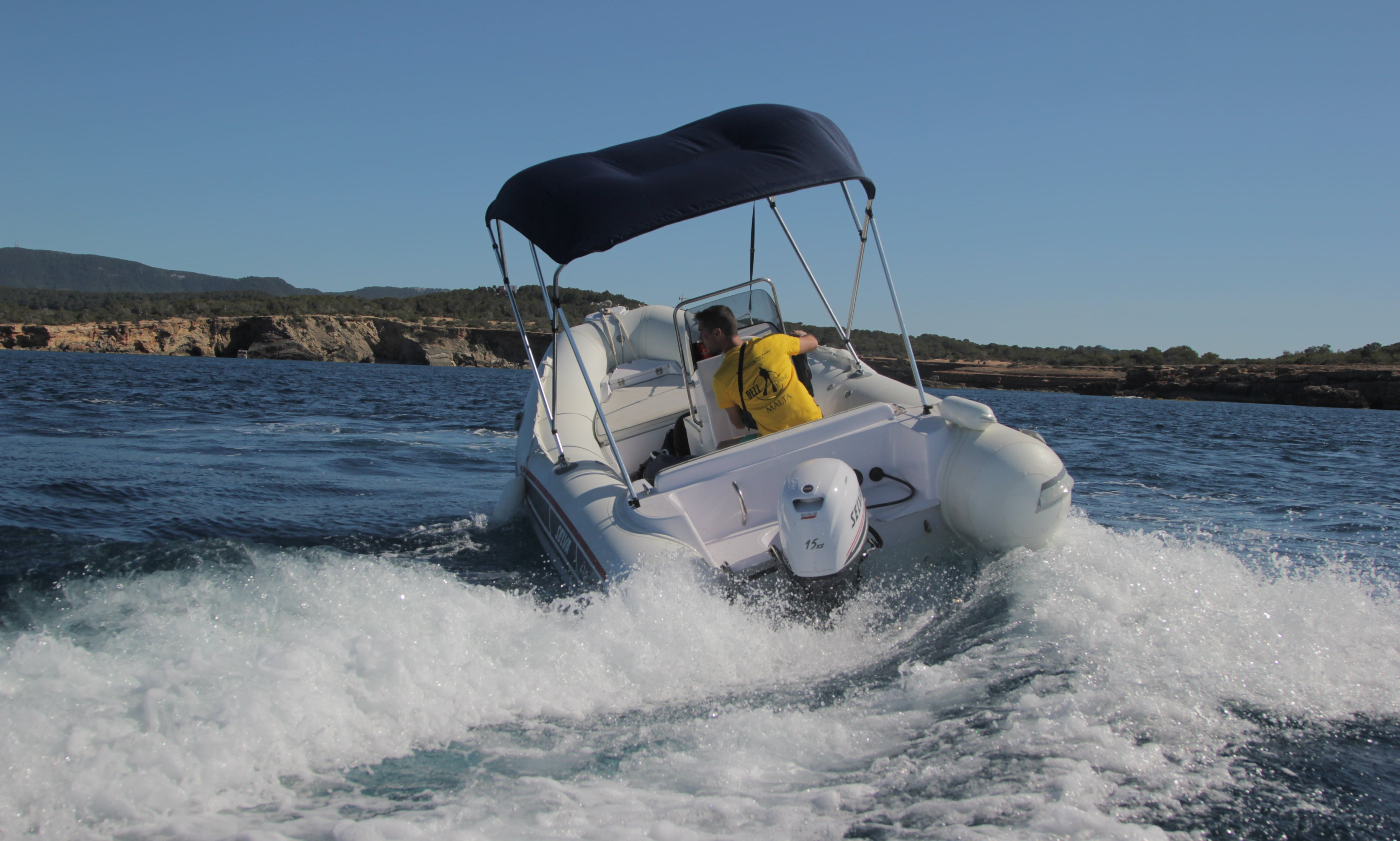 Enjoy an island hopping experience with this RIB rental in Sant Antoni de Portmany, Spain