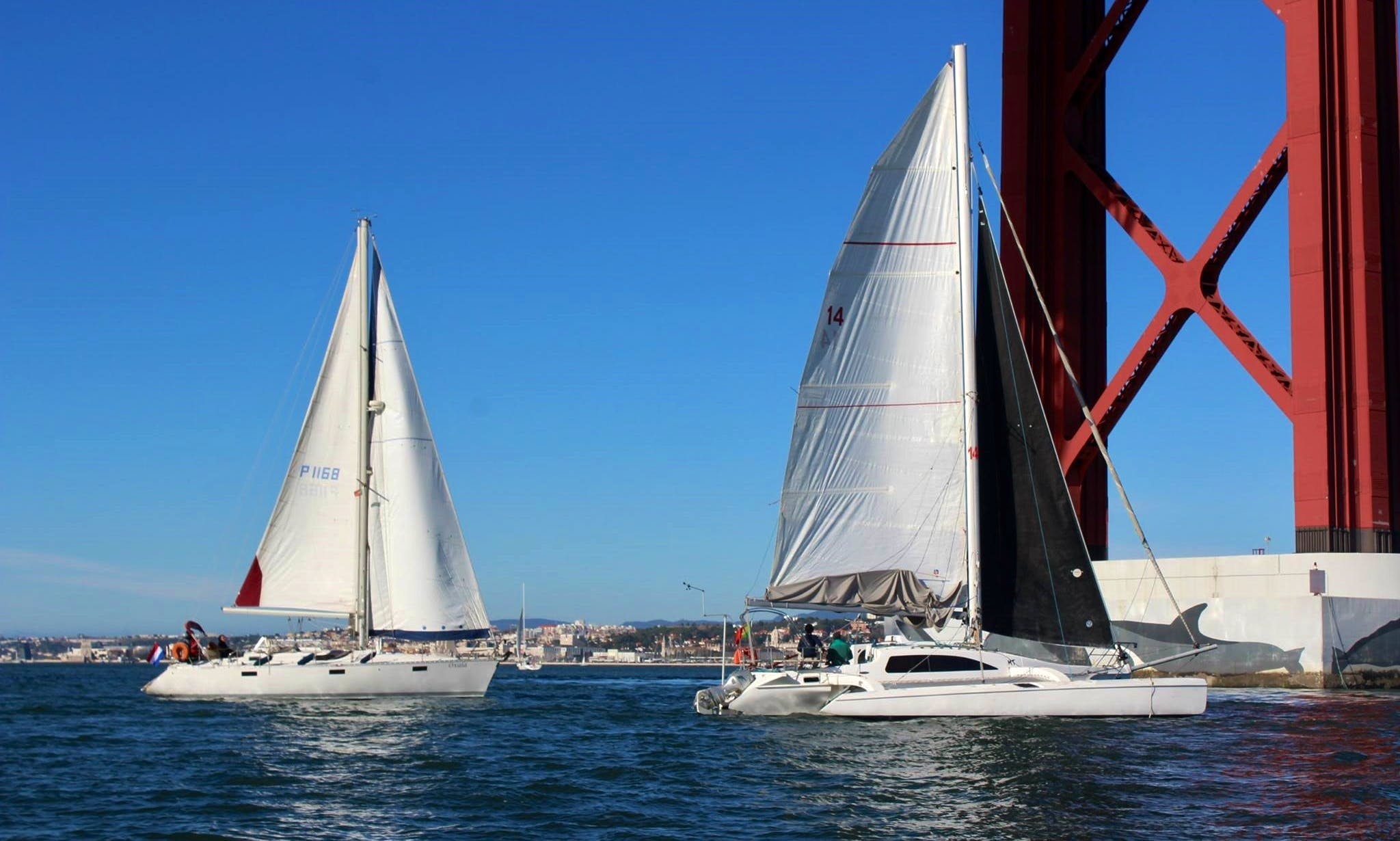 City Tour on Fast and Quite Corsair Marine 36 Catamaran in Lisbon