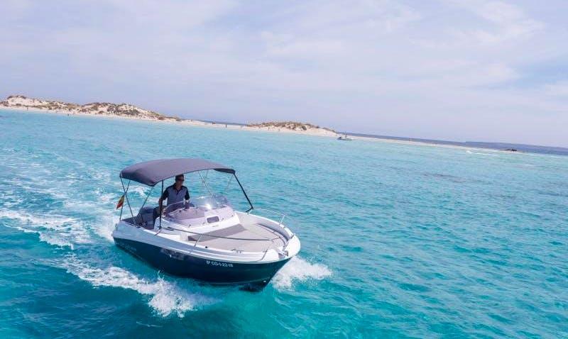 18' Jeanneau Cap Camarat 5.5 WA Deck Boat Charter in Eivissa, Spain
