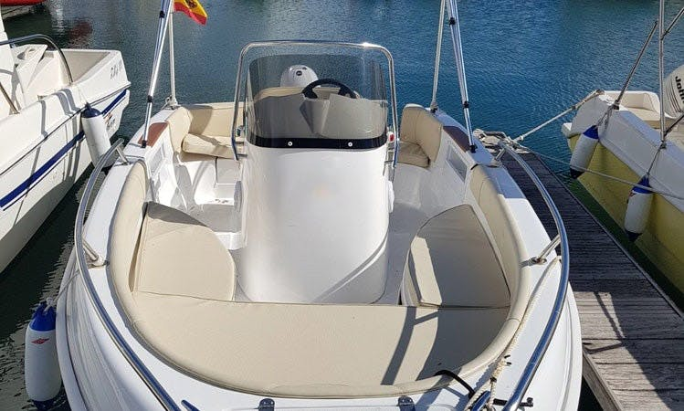 Rent 16' Funboat IV Marinello Fisherman Center Console in Valenciana, Spain