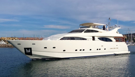 Charter 94' Ferretti Power Mega Yacht In Marbella, Andalucía For 12 People