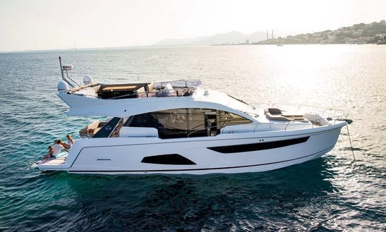 Cruise Along The Coast Of Salinas Torrevieja With This Sealine F530 Power Mega Yacht