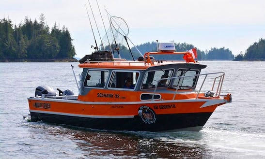 Port Alberni Inlet And Ocean Fishing Charter And Coastal Tours On 33' North River Seahawk Cuddy Cabin