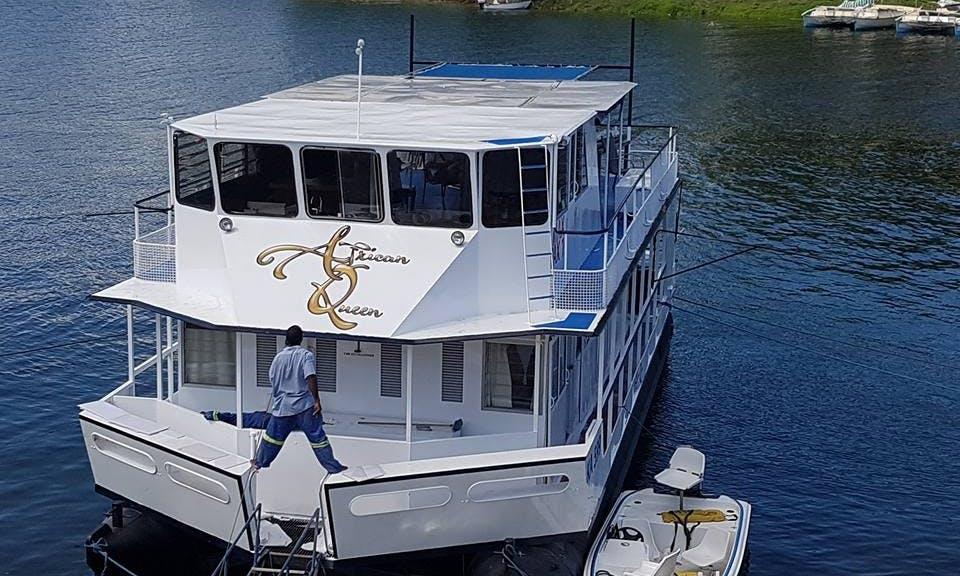 Have an amazing time in Kariba, Zimbabwe on 65' Houseboat