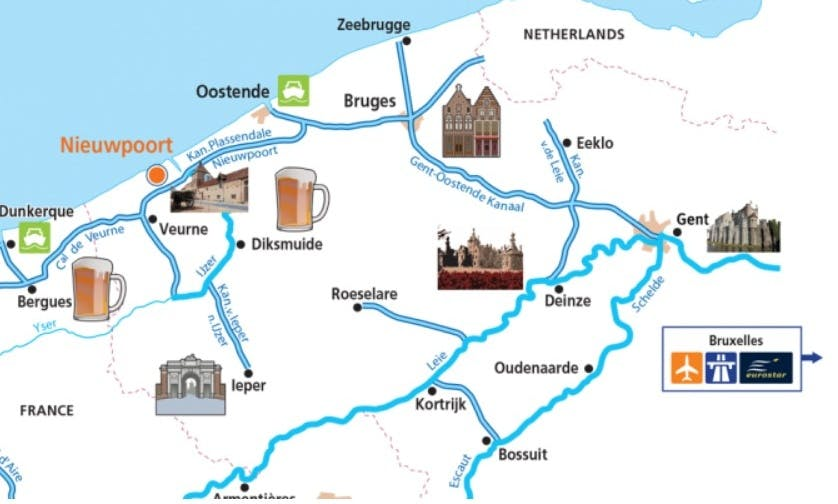 The Turrets and Tapestry Cruise on 4 Person Motor Yacht in Brugge