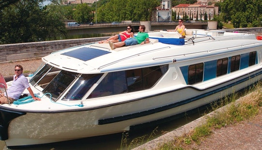 Impressive 49' Canal Boat For 6 Person For Hire In Canal Du Midi, France
