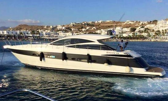 Cruise Along The Coast Of Mikonos, Greece With This 56' Pershing Power Mega Yacht