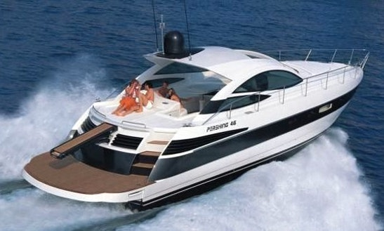 46' Pershing Motor Yacht Charter In Mykonos, Greece For 8 Person
