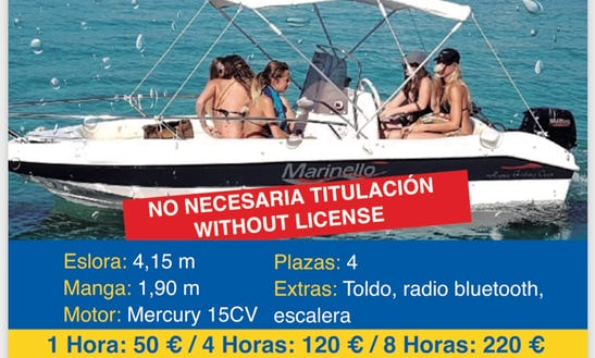 Take 4 Friends Out On This Boat Rental In Altea, Spain