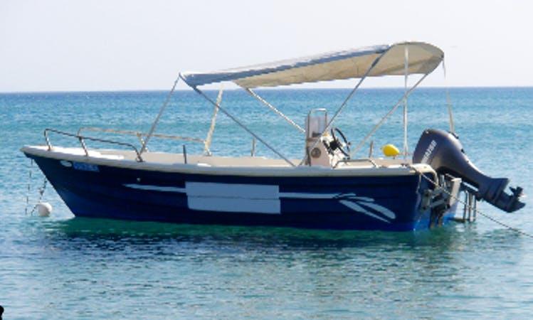 Rent a Center Console in Potokaki beach Samos island, Greece