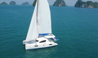 "Enjoy the luxury of cruising aboard this ""Blue Yacht"" catamaran"