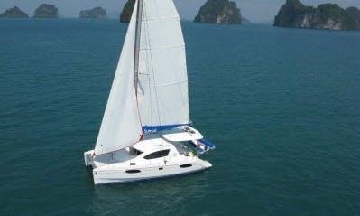"Enjoy the luxury of cruising aboard this ""Blue Yacht"" catamaran"