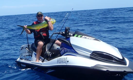 Jet Ski Fishing Safari At Bribie Island In Queensland, Australia