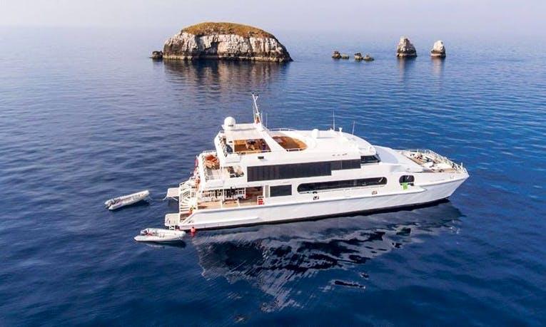 Charter this astonishing 118' Solitude Adventurer Power Catamaran to explore Indonesia